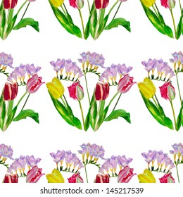 Bouquet with tulips and fressia.Seamless pattern.Watercolor illustration
