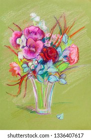 bouquet of various bright flowers, a holiday gift