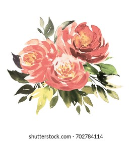 Bouquet of vintage pink roses  with foliage. Watercolor painting. Wedding and birthday drawings. Greeting card. Painted background. Hand drawn floral  illustration. Flower print. Cloth pattern. Peony.