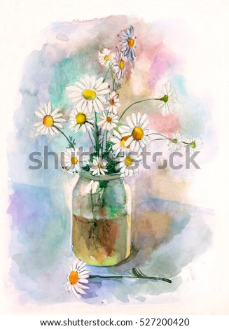 Bouquet White Daisies Vase Watercolor Drawing Stock Illustration