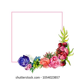 Bouquet wildflower flower frame in a watercolor style. Full name of the plant: rose, peony. Aquarelle wild flower for background, texture, wrapper pattern, frame or border.