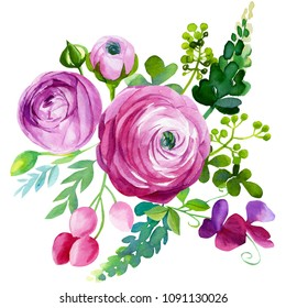 bouquet of wildflowers, watercolor painting, hand drawing, abstract flowers, roses, carnations, ranunculus, leaves and buds