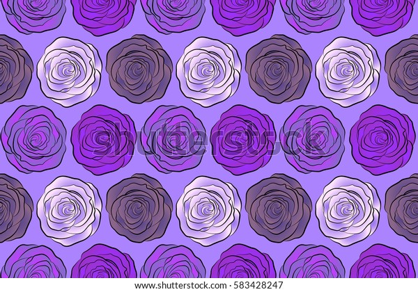 Bouquets of neutral, violet and purple roses. Seamless pattern. Raster illustration.