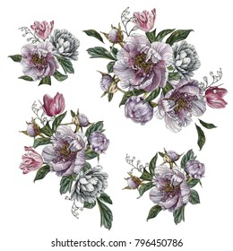 Bouquets of peonies and tulips. Flowers set of watercolor flowers