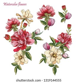 Bouquets of watercolor flowers. Set of watercolor peonies and narcissus. Textile prints