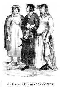 Bourgeois and Bourgeoisie, vintage engraved illustration. Magasin Pittoresque 1844.