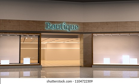 Boutique facade with clothes in 3d illustration