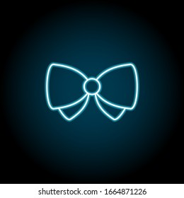 Bow butterfly neon icon. Simple thin line, outline of Saint Patricks Day icons for UI and UX, website or mobile application on dark blue gradient background