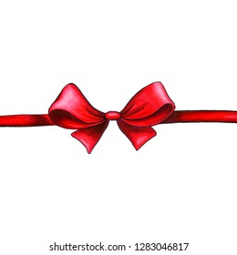 Bow hand drawn raster illustration. Realistic red ribbon knot drawing. Bowknot clipart. Cartoon hair accessory. Isolated color bow-tie. Gift packaging. Banner, poster, greeting card design element