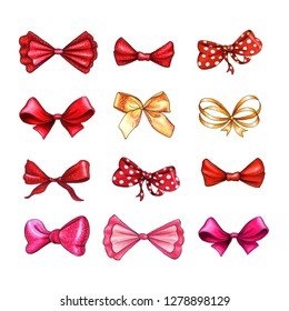 Bow hand drawn raster illustrations set. Realistic red, golden, pink and purple ribbon knots drawing. Bowknot cliparts. Hair accessories. Isolated color bow-tie. Banner, greeting card design element
