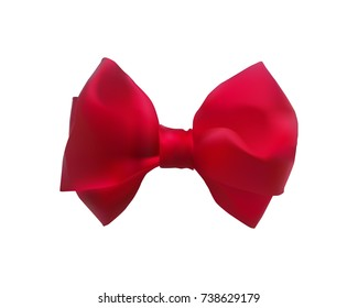 Bowknot tied red satin ribbon for celebration. Decoration closeup on a white background. Decorative knot bow for gift decoration.
