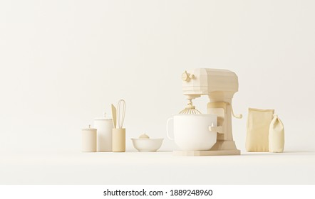 Bowl Lift Stand Mixer on pastel cream and beige color. Small Kitchen Electrical Appliances. Health lifestyle, cooking concept. Creative background for product presentation, social media. 3D render