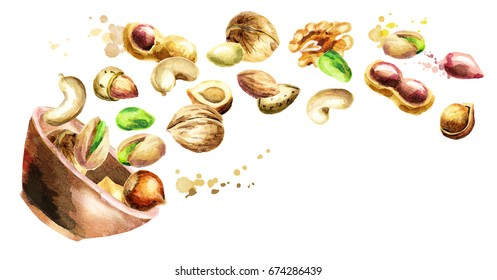 Bowl with mix of nuts. Hand-drawn horizontal watercolor illustration