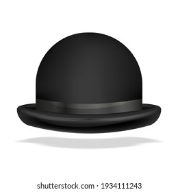 bowler hat realistic isolated. 3D illustration isolated on white.