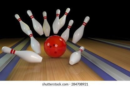 Bowling background with red ball 3D