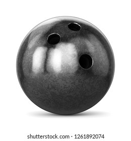 Bowling ball with black marble texture isolated on white background. 3D illustration