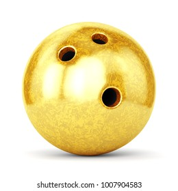 Bowling ball with golden marble texture isolated on white background. Sports award, trophy and championship concept. 3D illustration