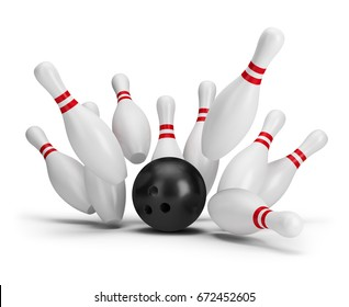 Bowling ball kills. 3d image. White background.