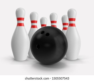 Bowling ball and pins illustration 3D isolated on white background. Sport game concept. Pins with red stripes. Illustration stock.