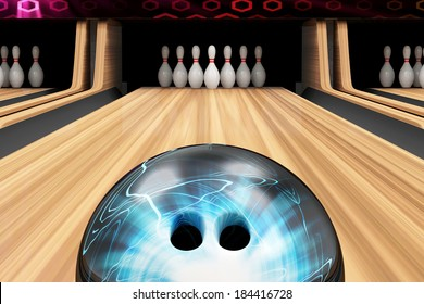 Bowling Ball is Rolling on Wooden Lane