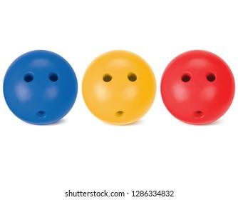 Bowling balls set isolated on white. 3d illustration.