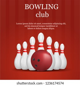 Bowling club concept background. Realistic illustration of bowling club concept background for web design