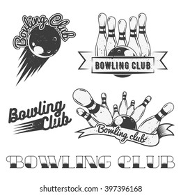 Bowling club logo set in vintage style. Design elements, labels, badges and emblems. Strike, balls, ninepins.