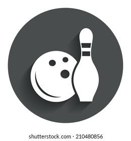 Bowling game sign icon. Ball with pin skittle symbol. Circle flat button with shadow. Modern UI website navigation.