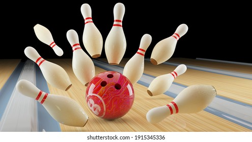 bowling game. Skittles and bowling ball on the track