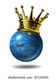 Bowling king champion with a golden crown on a blue plastic marble bowling ball for bowlers representing the winning of a tournament or game at a bowling alley due to many strikes of the pins..