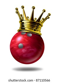 Bowling king champion symbol with a golden crown on a red plastic marble bowling ball for bowlers representing the winning of a tournament or game at a bowling alley due to many strikes of the pins..