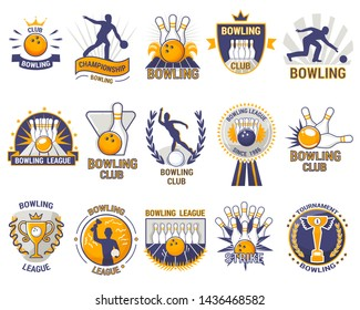Bowling logo bowler sport game with alley or bowling ball skittles and strike on tournament or league in bowl club isolated on white background