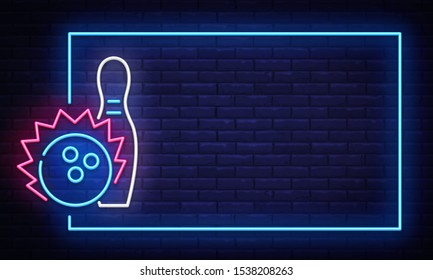 Bowling neon sign . Neon Frame Bowling Club Design template, light banner, night signboard, nightly bright advertising, light inscription. illustration.
