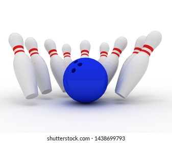 bowling pin strike . 3d rendered illustration
