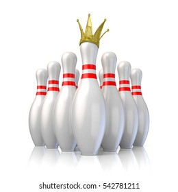 Bowling pins arranged and one with royal crown. 3D render illustration isolated on white background