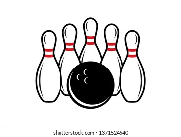 Bowling pins and bowling ball illustration. Bowling icon on a white background. Five white bowling pins
