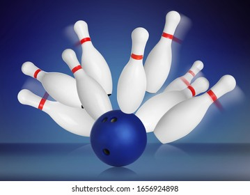 Bowling pins and ball on blue background. 3D