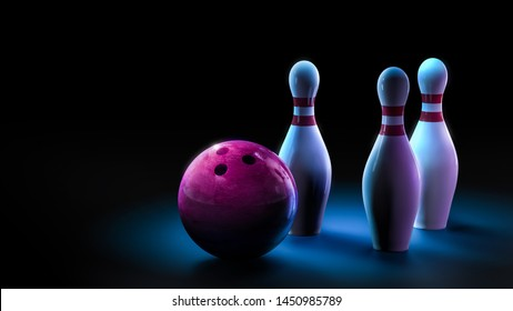 Bowling pins with ball on a dark blue background. 3D illustration, rendering