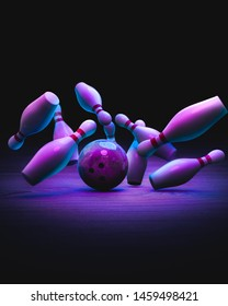 Bowling pins with ball on a dark wooden background. 3D illustration, rendering