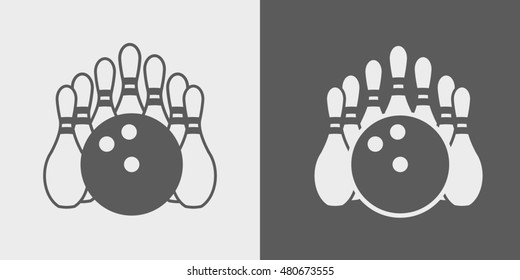 Bowling Pins and Bowling Ball. Set of icons or signs on dark and light background