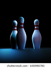 Bowling pins in a blue dark background. 3D rendering / illustration