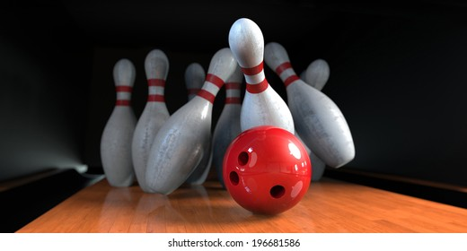 Bowling pins crashed with the red ball