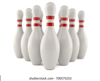 Bowling pins isolated on white background. 3d illustration