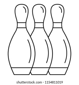 Bowling skittles icon. Outline bowling skittles icon for web design isolated on white background