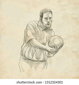 BOWLING - An sportman. An hand drawn illustration in retro, vintage style. Freehand sketching. Drawing of an sporting event. Line art on old paper.