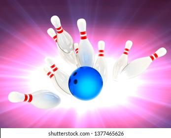 Bowling strike. 3d illustration