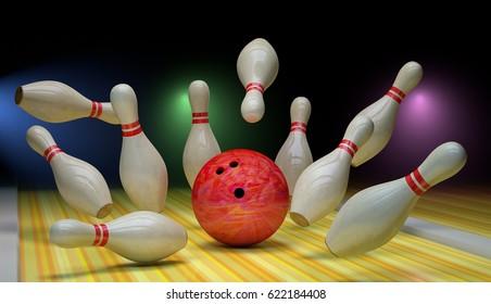 Bowling strike. The ball knocks down skittles. 3d render