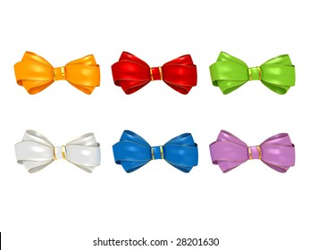 Bow-tie collection isolated on white background