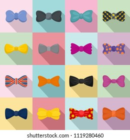 Bowtie ribbon man tuxedo icons set. Flat illustration of 16 bowtie ribbon man tuxedo icons for web