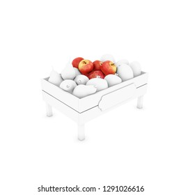 box of apples grey shade 3d illustration